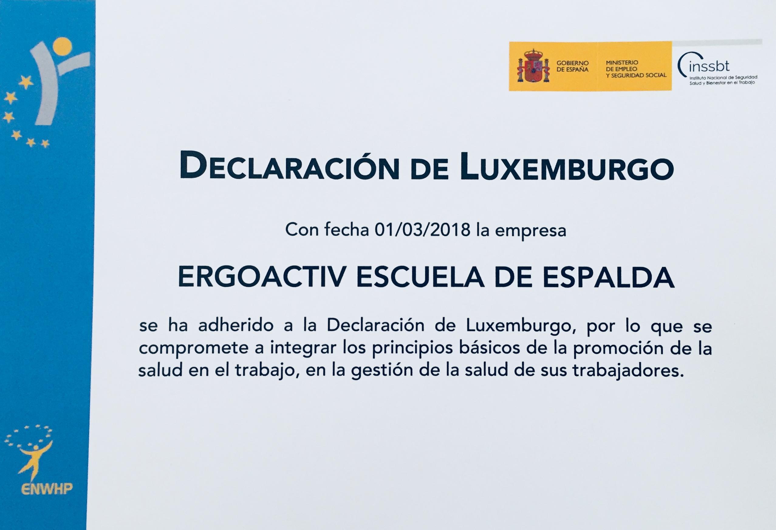 Ergoactiv se adhiere a la Declaración de Luxemburgo