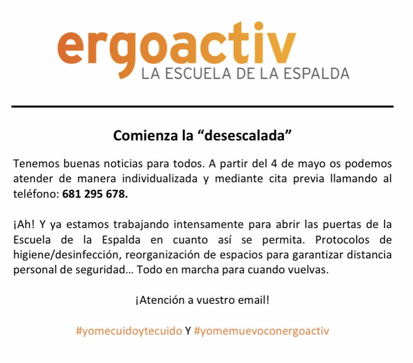 """Comienza la """"desescalada"""" en Ergoactiv"""